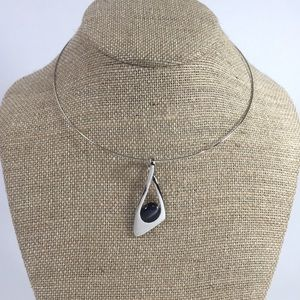 Lia Sophia Silver Neckwire Necklace Black Stone